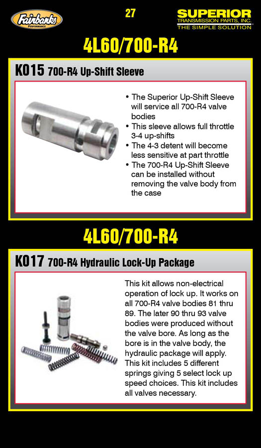 Superior 700-R4 Hydraulic Lock-Up Package